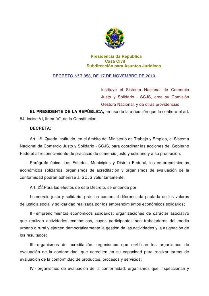 Presidencia da República                                               Casa Civil                                      Sub...