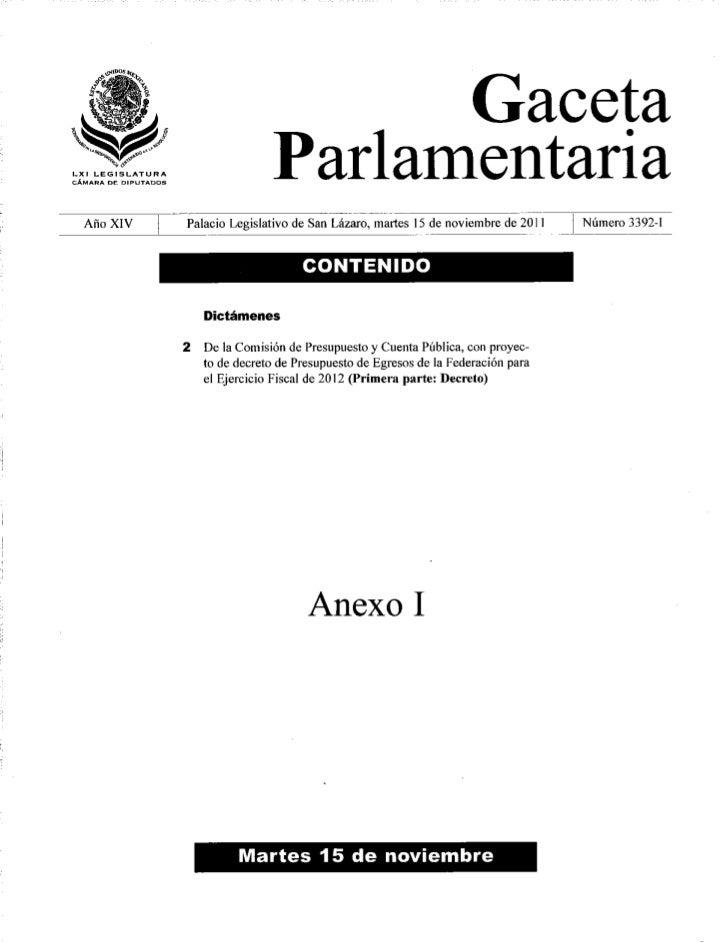 Presupuesto Egresos Federacion 2012 Diputados