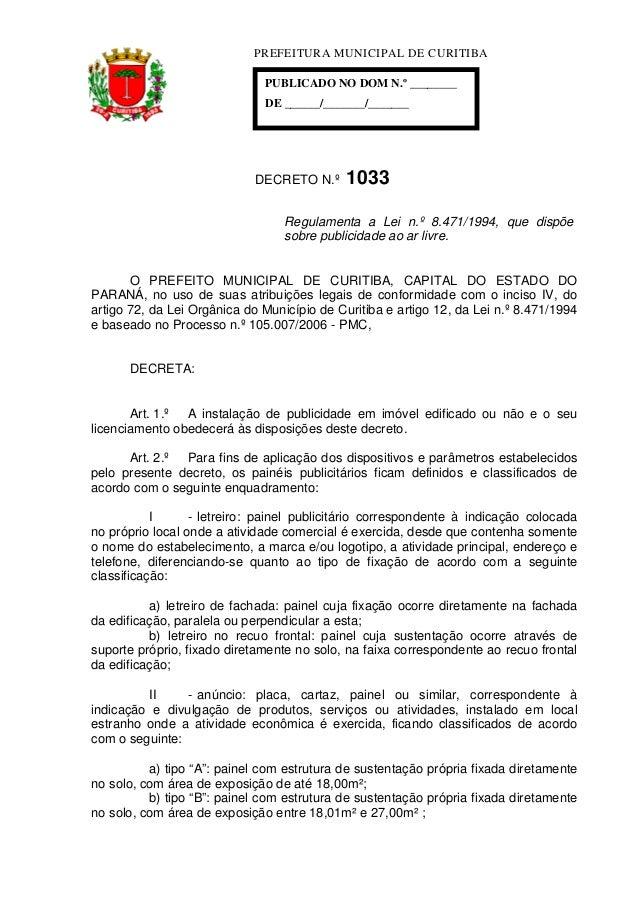 PREFEITURA MUNICIPAL DE CURITIBA                              PUBLICADO NO DOM N.º ________                              D...