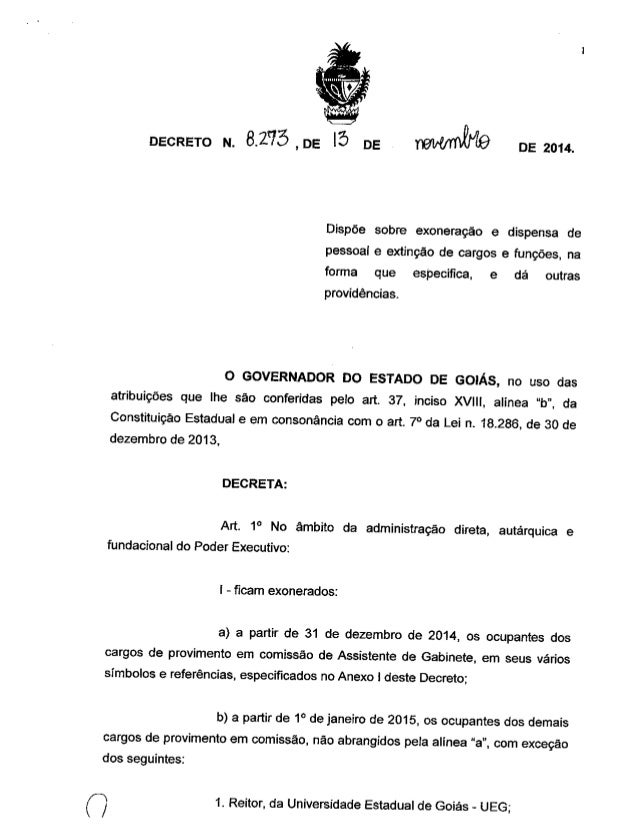 DECRETO N.  3.275 , DE i5 DE   DE 2014.  Dispõe sobre exoneração e dispensa de pessoa¡ e extinção de cargos e funções,  na...