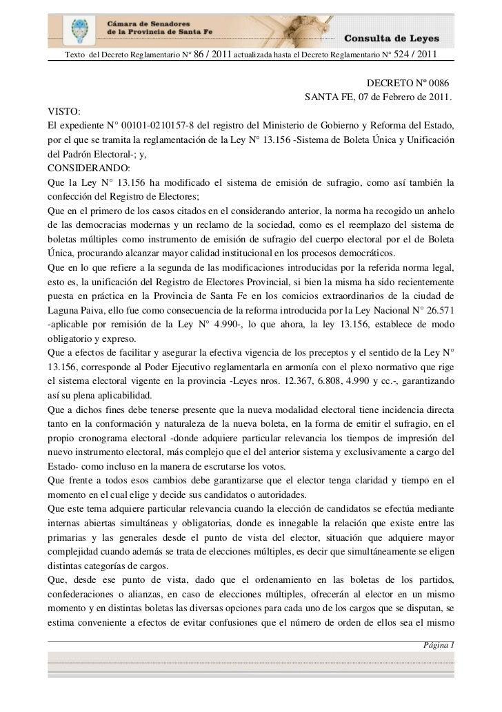Texto del Decreto Reglamentario N° 86 / 2011 actualizada hasta el Decreto Reglamentario N° 524 / 2011                     ...