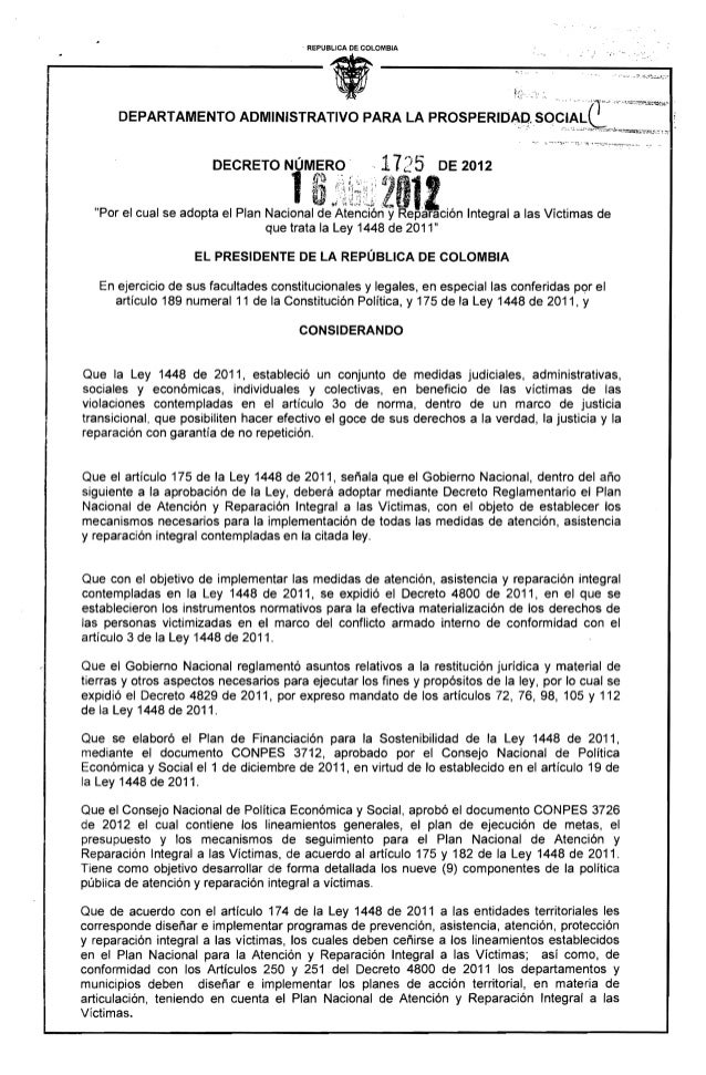 Decreto reparacion victimas - plan de atencion y reparacion - photo#43