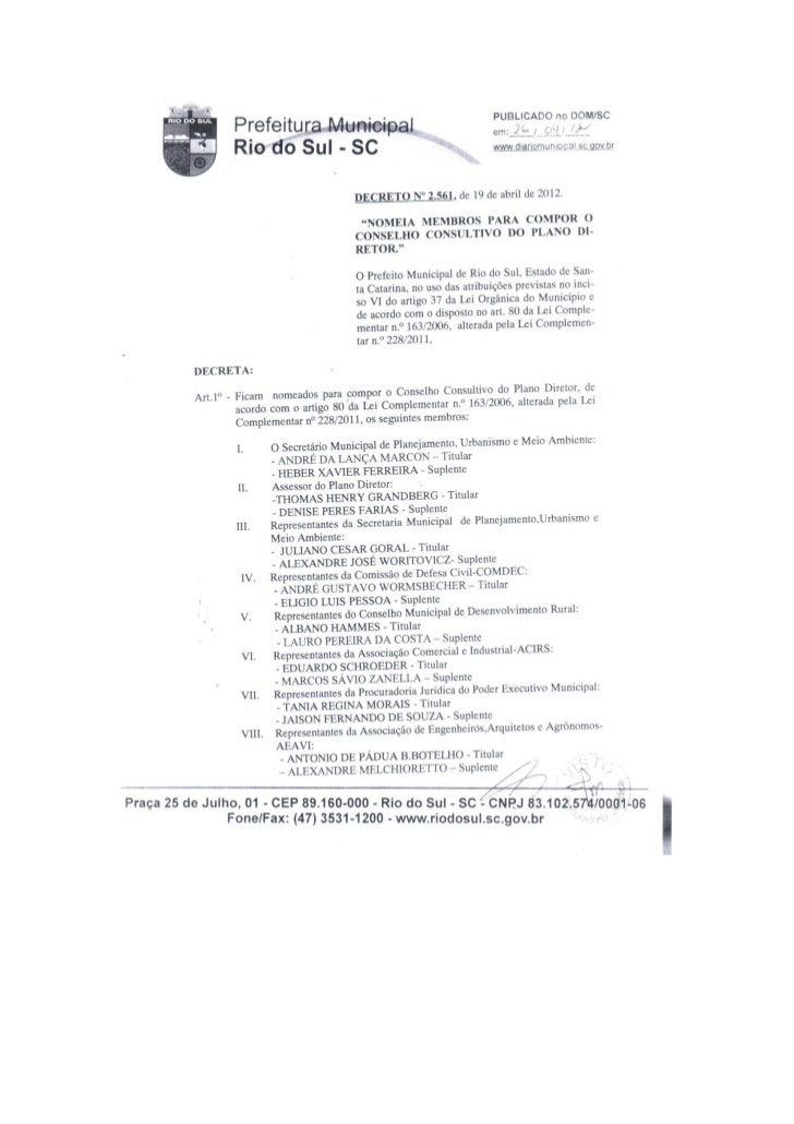Composição do Conselho do Plano Diretor
