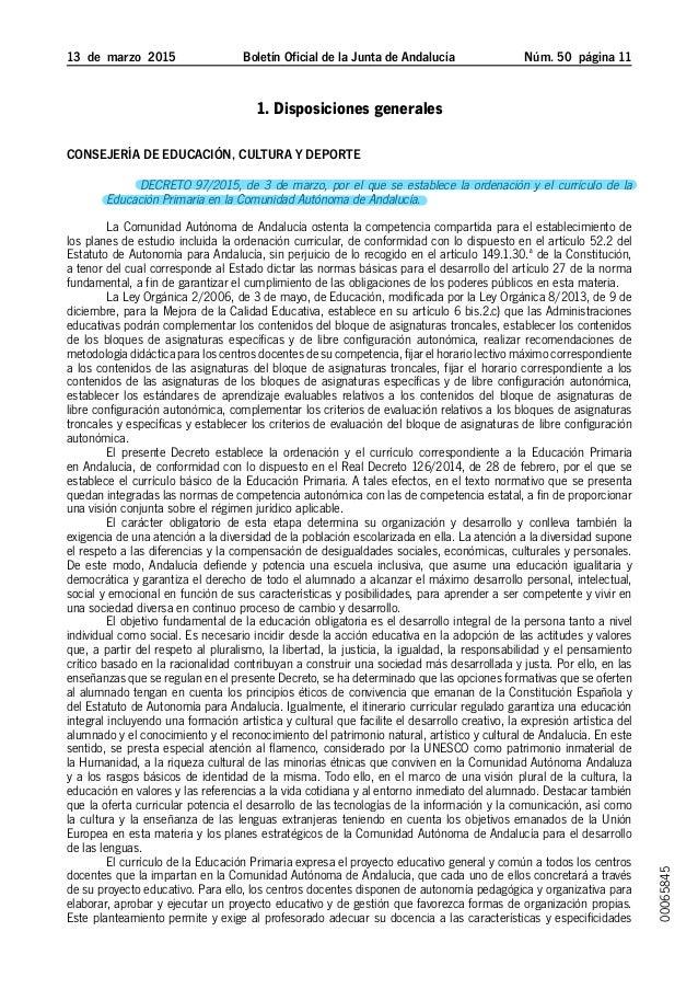 13 de marzo 2015 Boletín Oficial de la Junta de Andalucía Núm. 50  página 11 1. Disposiciones generales Consejería de ...
