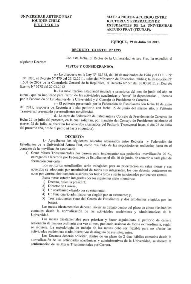 UNIVERSIDAD ARTURO PRAT MAT. : APRUEBA ACUERDO ENTRE  IQUIQUE—CHILE RECTORIA Y FEDERACION DE R E C T O R I A ESTUDIANTES D...