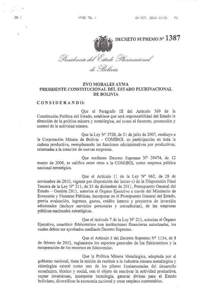 Decreto Supremo 1387 Karichapampa