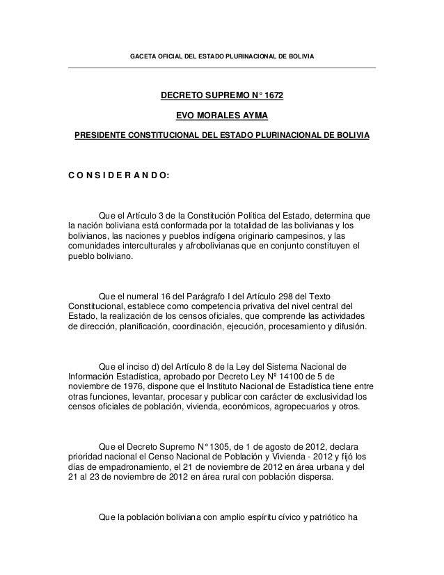 GACETA OFICIAL DEL ESTADO PLURINACIONAL DE BOLIVIA DECRETO SUPREMO N° 1672 EVO MORALES AYMA PRESIDENTE CONSTITUCIONAL DEL ...