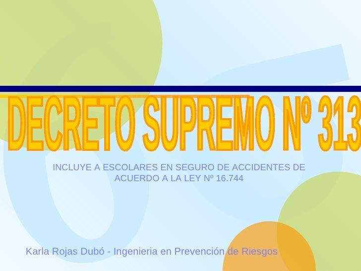 Karla Rojas Dubó - Ingenieria en Prevención de Riesgos   DECRETO SUPREMO Nº 313  INCLUYE A ESCOLARES EN SEGURO DE ACCIDENT...