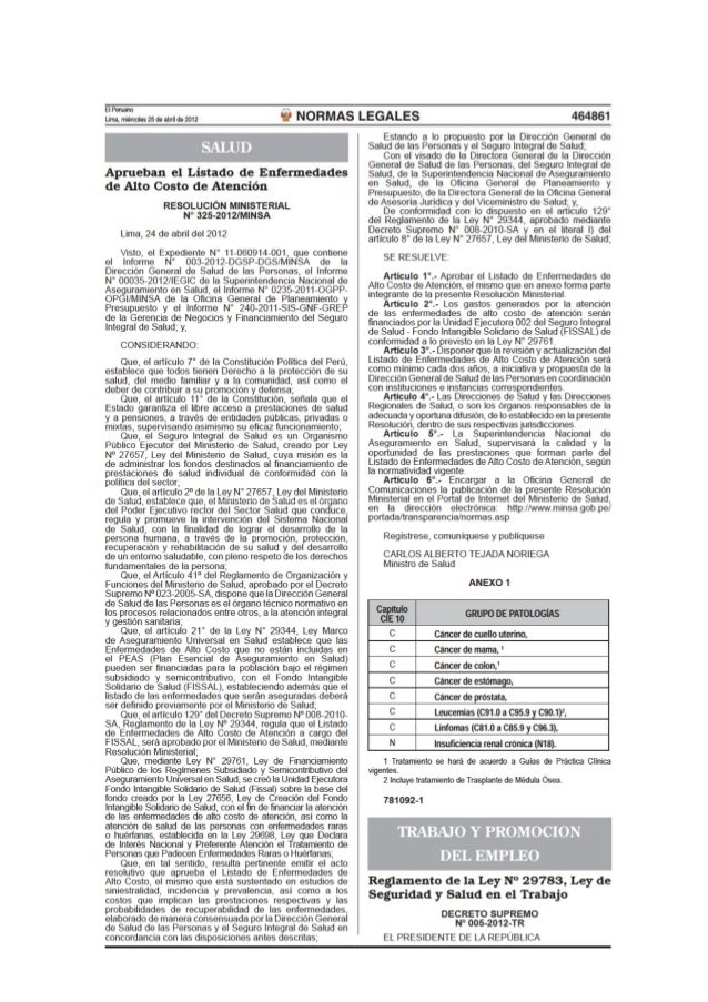 Decreto supremo nº 005 2012-tr - reglamento de la ley de seguridad y salud en el trbaajo - 2012