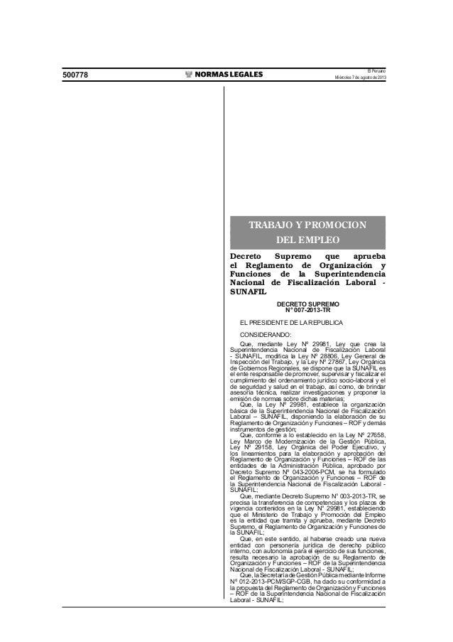 El Peruano Miércoles 7 de agosto de 2013500778 TRABAJO Y PROMOCION DEL EMPLEO Decreto Supremo que aprueba el Reglamento de...