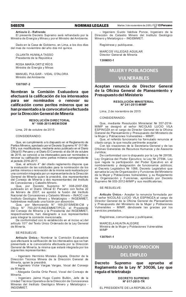 565578 NORMAS LEGALES Martes 3 de noviembre de 2015 / El Peruano Artículo 2.- Refrendo El presente Decreto Supremo será re...