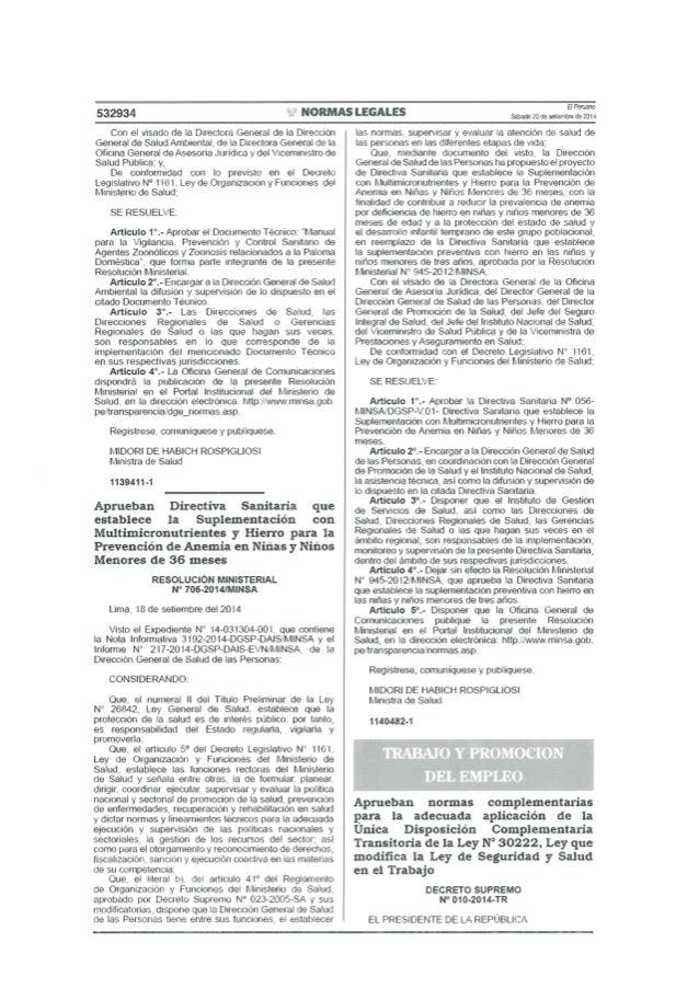 Decreto Supremo N° 010 2014-TR - Aprueban normas complementarias para la adecuada aplicación de la única disposición compl...