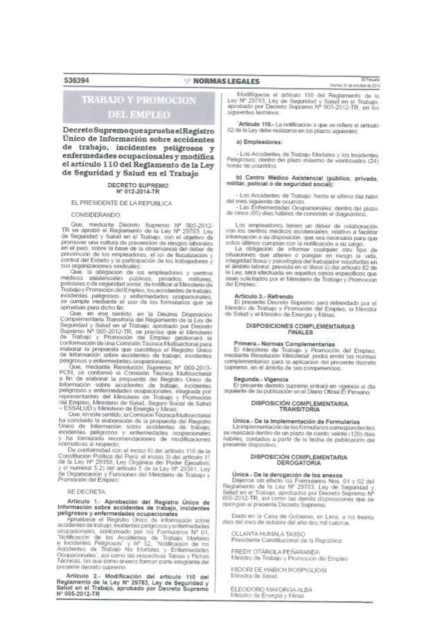 536394  NORMAS LEGALES  EPBUZIO Viernes 31 deoctubradeitoll        DecretoSupremoqueapmebaelRegístro Unico de Información ...