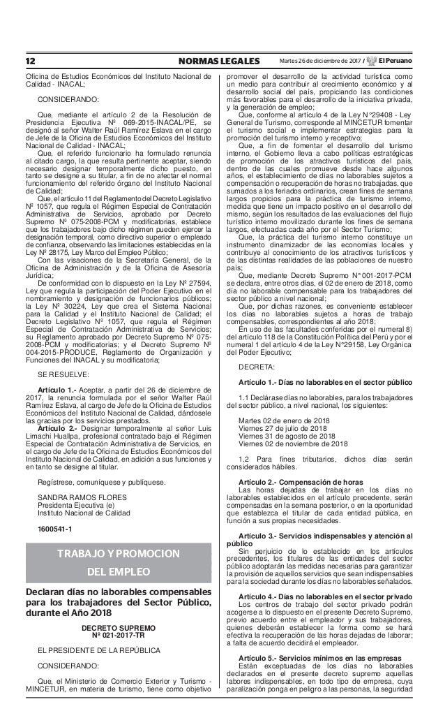 12 NORMAS LEGALES Martes 26 de diciembre de 2017 / El Peruano Oficina de Estudios Económicos del Instituto Nacional de Cali...