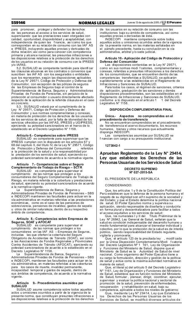 559146 NORMAS LEGALES Jueves 13 de agosto de 2015 / El Peruano para promover, proteger y defender los derechos de las pers...