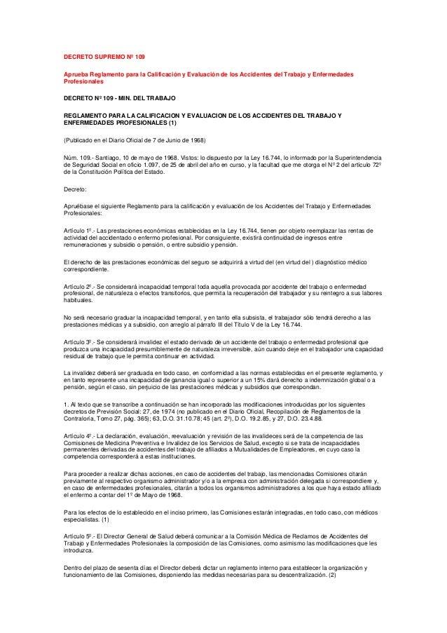 DECRETO SUPREMO Nº 109 Aprueba Reglamento para la Calificación y Evaluación de los Accidentes del Trabajo y Enfermedades P...