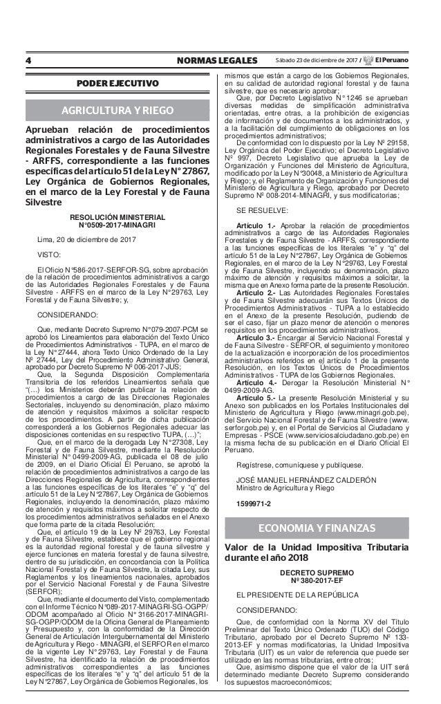 4 NORMAS LEGALES Sábado 23 de diciembre de 2017 / El Peruano PODER EJECUTIVO AGRICULTURA Y RIEGO Aprueban relación de proc...