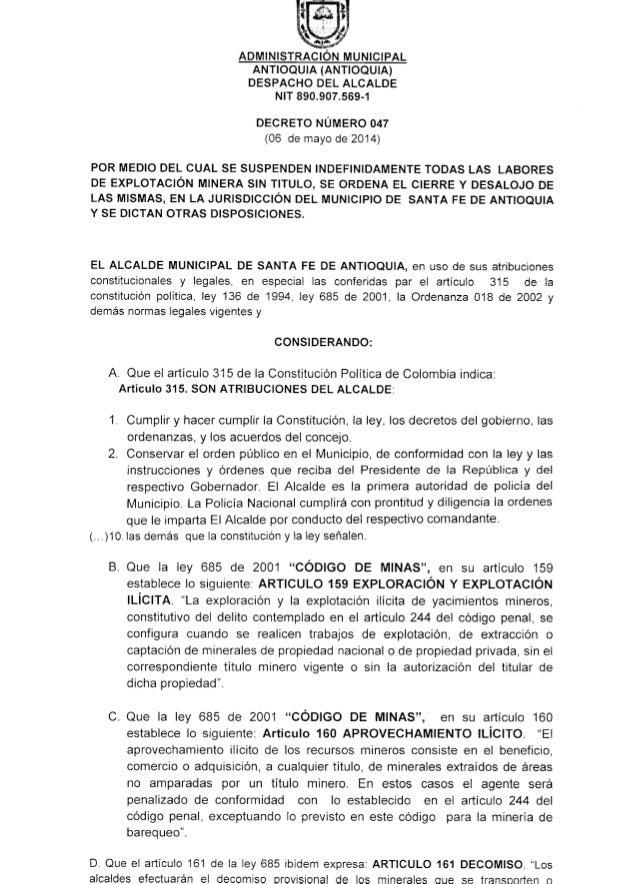 DECRETO NÚMERO 047. SUSPENSIÓN MINERÍA