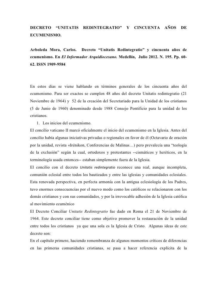 """DECRETO        """"UNITATIS       REDINTEGRATIO""""            Y   CINCUENTA         AÑOS      DEECUMENISMO.Arboleda Mora, Carlo..."""