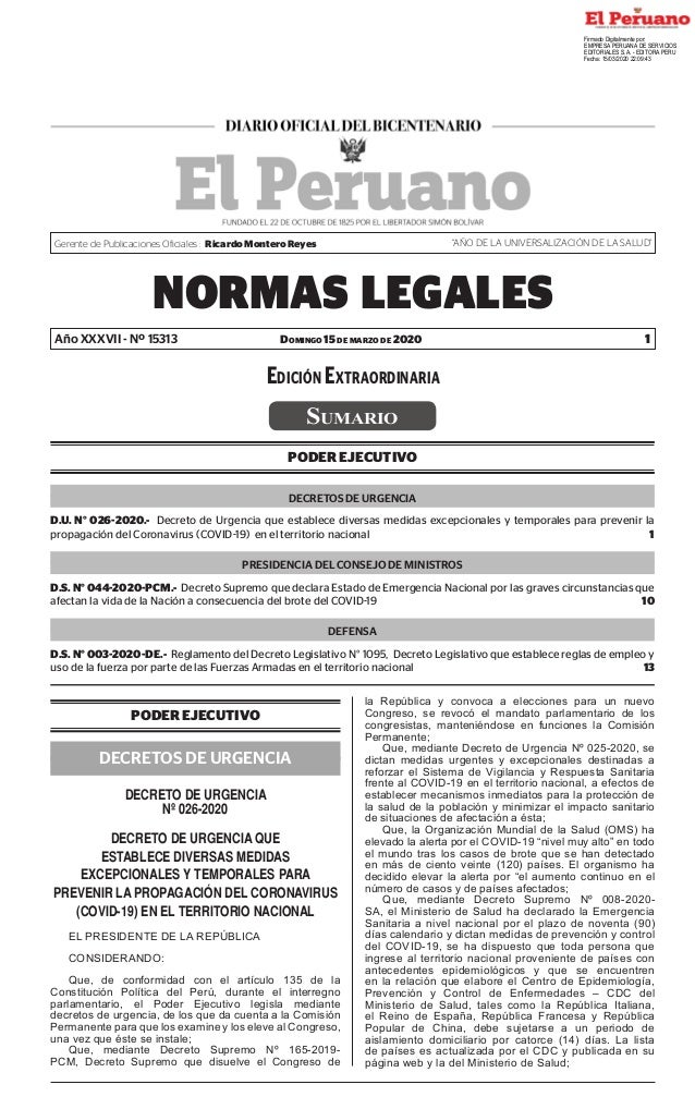 """Domingo 15 de marzo de 2020 NORMAS LEGALES 1 Gerente de Publicaciones Oficiales : Ricardo Montero Reyes """"AÑO DE LA UNIVERS..."""