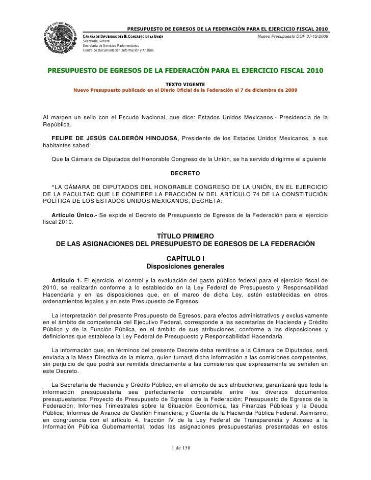 Decretp de presupuesto de egresos de la federación para el ejercicio fiscal 2010