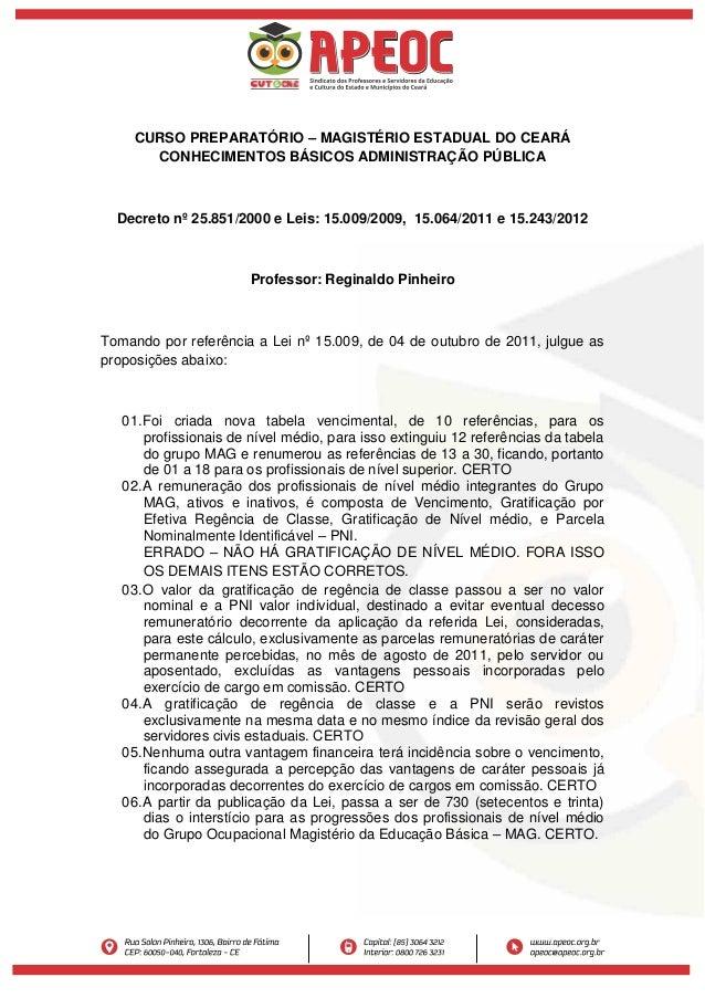 CURSO PREPARATÓRIO – MAGISTÉRIO ESTADUAL DO CEARÁ CONHECIMENTOS BÁSICOS ADMINISTRAÇÃO PÚBLICA Decreto nº 25.851/2000 e Lei...
