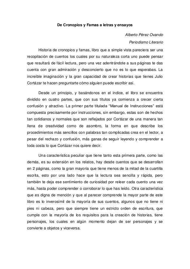 De Cronopios y Famas a letras y ensayos                                                        Alberto Pérez Ovando       ...