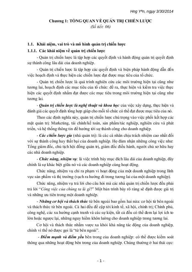 Hng Yªn, ngµy 3/30/2014 Chương 1: TỔNG QUAN VỀ QUẢN TRỊ CHIẾN LƯỢC (Số tiết: 06) 1.1. Khái niệm, vai trò và mô hình quản t...