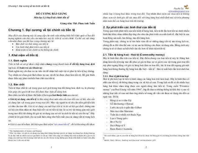 Chương 1. Đại cương về tài chính và tiền tệ                                                                               ...