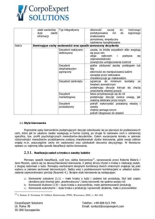 Decyzje W Pracy Menedzera Kierownika Aleksander Sosnowski