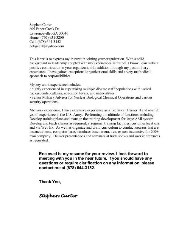 Stephen Carter - 2015 Cover letter Travel