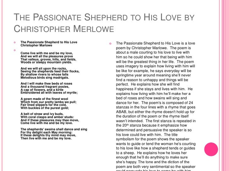 passionate shepherd to his love thesis