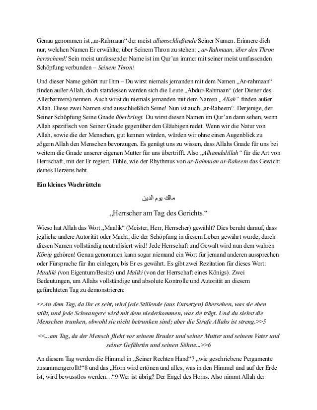 """Genau genommen ist """"ar-Rahmaan"""" der meist allumschließende Seiner Namen. Erinnere dich nur, welchen Namen Er erwählte, übe..."""