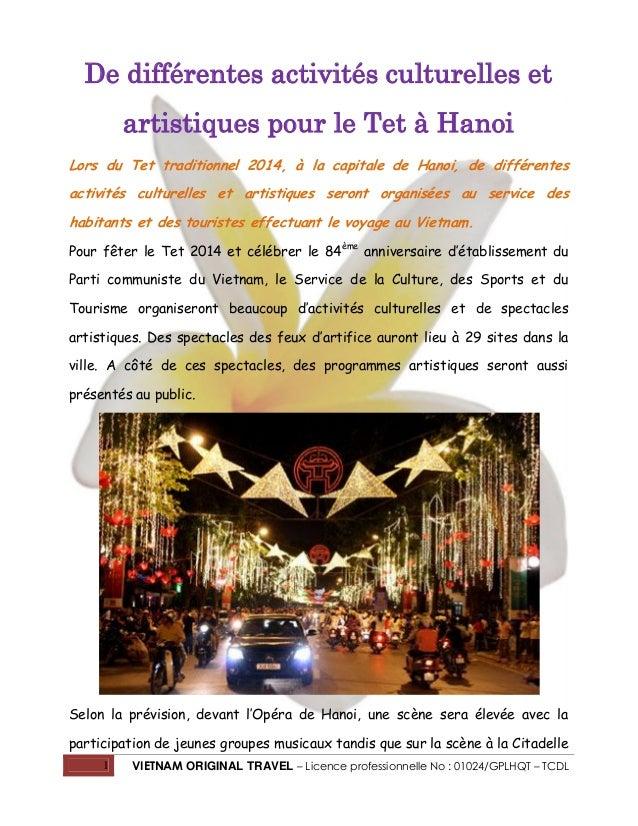 De différentes activités culturelles et artistiques pour le Tet à Hanoi Lors du Tet traditionnel 2014, à la capitale de Ha...