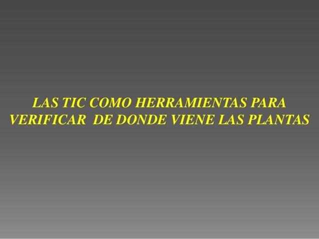 LAS TIC COMO HERRAMIENTAS PARAVERIFICAR DE DONDE VIENE LAS PLANTAS