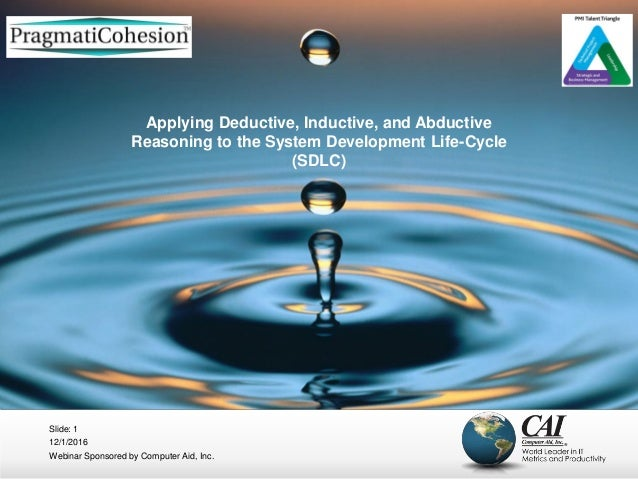 12/1/2016 Webinar Sponsored by Computer Aid, Inc. Slide: 1 Applying Deductive, Inductive, and Abductive Reasoning to the S...