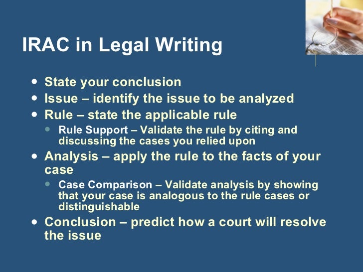 irac legal writing Irubric txxxbac: rubric title legal writing (irac) built by jeatlaw using irubriccom free rubric builder and assessment tools.