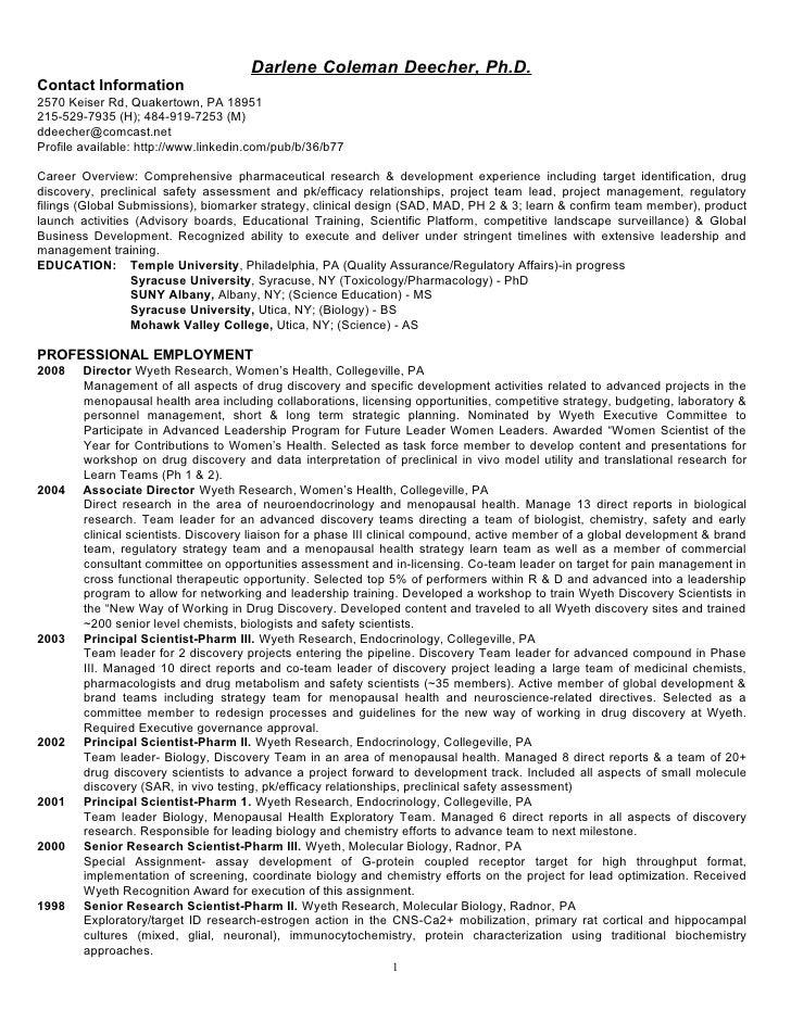 Darlene Coleman Deecher, Ph.D. Contact Information 2570 Keiser Rd, Quakertown, PA 18951 215-529-7935 (H); 484-919-7253 (M)...
