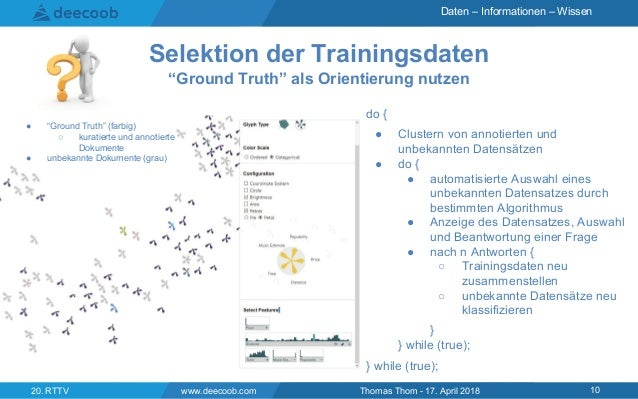"Daten – Informationen – Wissen www.deecoob.com 1020. RTTV Thomas Thom - 17. April 2018 Selektion der Trainingsdaten ""Groun..."