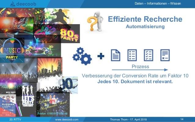Daten – Informationen – Wissen Effiziente Recherche Automatisierung www.deecoob.com 1420. RTTV Thomas Thom - 17. April 201...