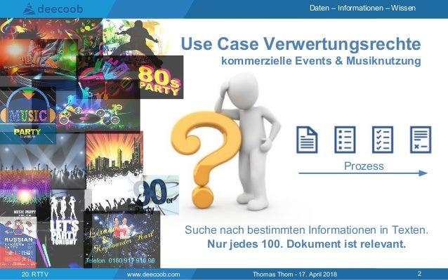 Daten – Informationen – Wissen Use Case Verwertungsrechte kommerzielle Events & Musiknutzung www.deecoob.com 220. RTTV Tho...