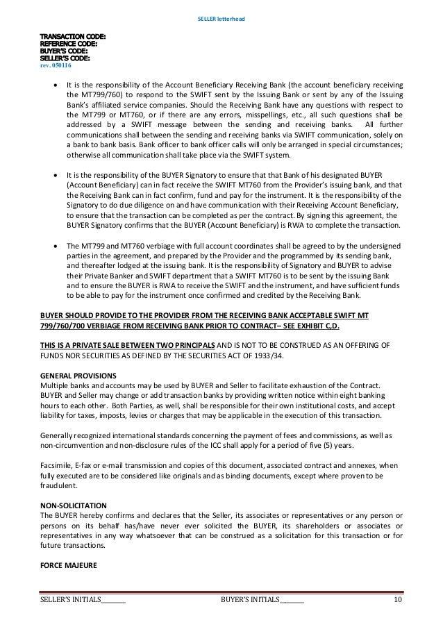 Deed of agreement purchase sblc 352 rwapayment guaranteesecurity d 10 platinumwayz