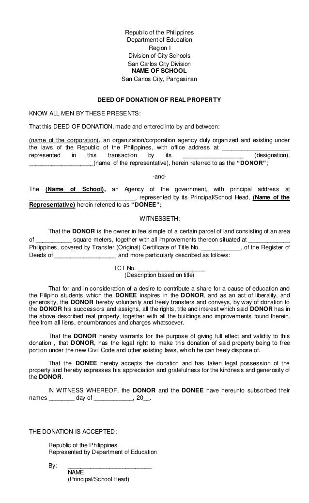Deed Of Donation For Real Property
