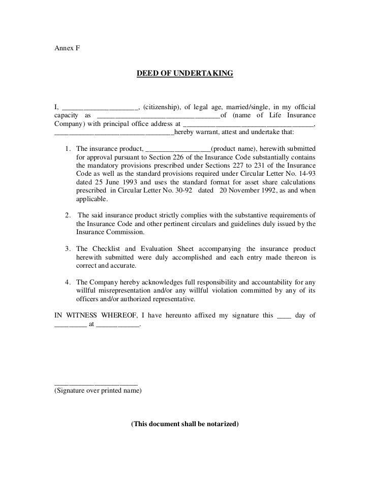 Deed of undertaking pros carlos spiritdancerdesigns Image collections