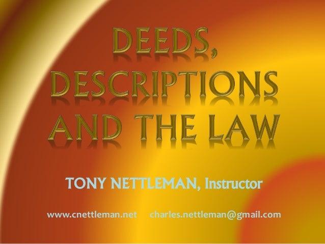 TONY NETTLEMAN, Instructor www.cnettleman.net charles.nettleman@gmail.com