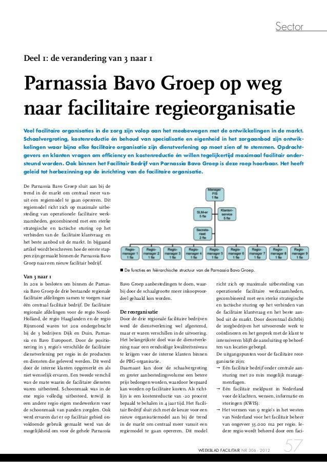 Sector 57NR 306 - 2012WEEKBLAD FACILITAIR De Parnassia Bavo Groep sluit aan bij de trend in de markt om centraal meer van-...
