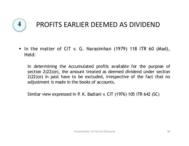 "deemed dividends A deemed dividend is determined by deducting the paid-up capital (""puc"") of the shares from the price paid by the corporation for their redemption puc is calculated by averaging the total amount of shareholder capital paid in the issued shares of that class."