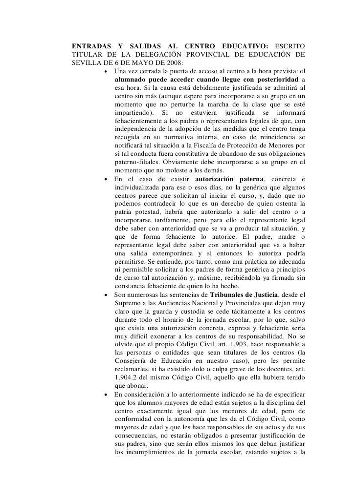 ENTRADAS Y SALIDAS AL CENTRO EDUCATIVO: ESCRITO TITULAR DE LA DELEGACIÓN PROVINCIAL DE EDUCACIÓN DE SEVILLA DE 6 DE MAYO D...