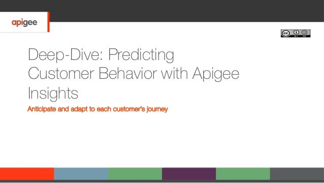 Deep-Dive: Predicting Customer Behavior with Apigee Insights Anticipate and adapt to each customer's journey