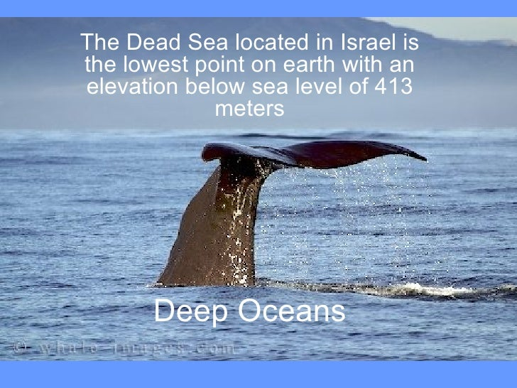 Deep Oceans The Dead Sea located in Israel is the lowest point on earth with an elevation below sea level of 413 meters